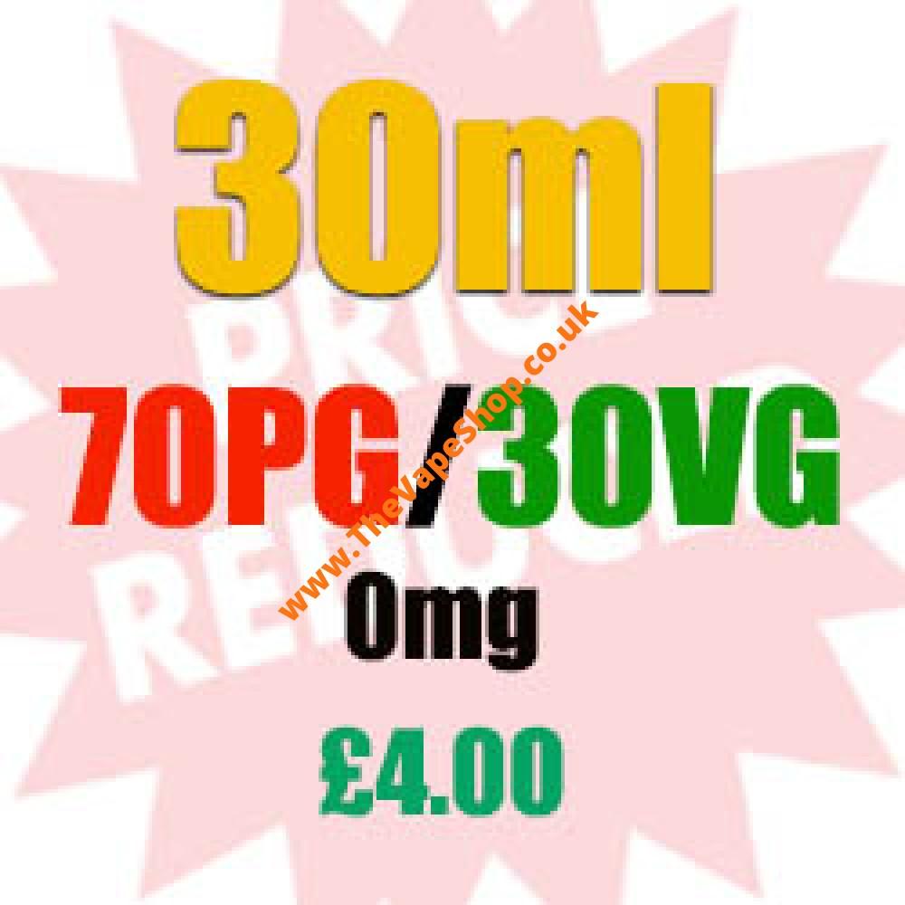 30ml 0mg 70PG/30VG - £4.00